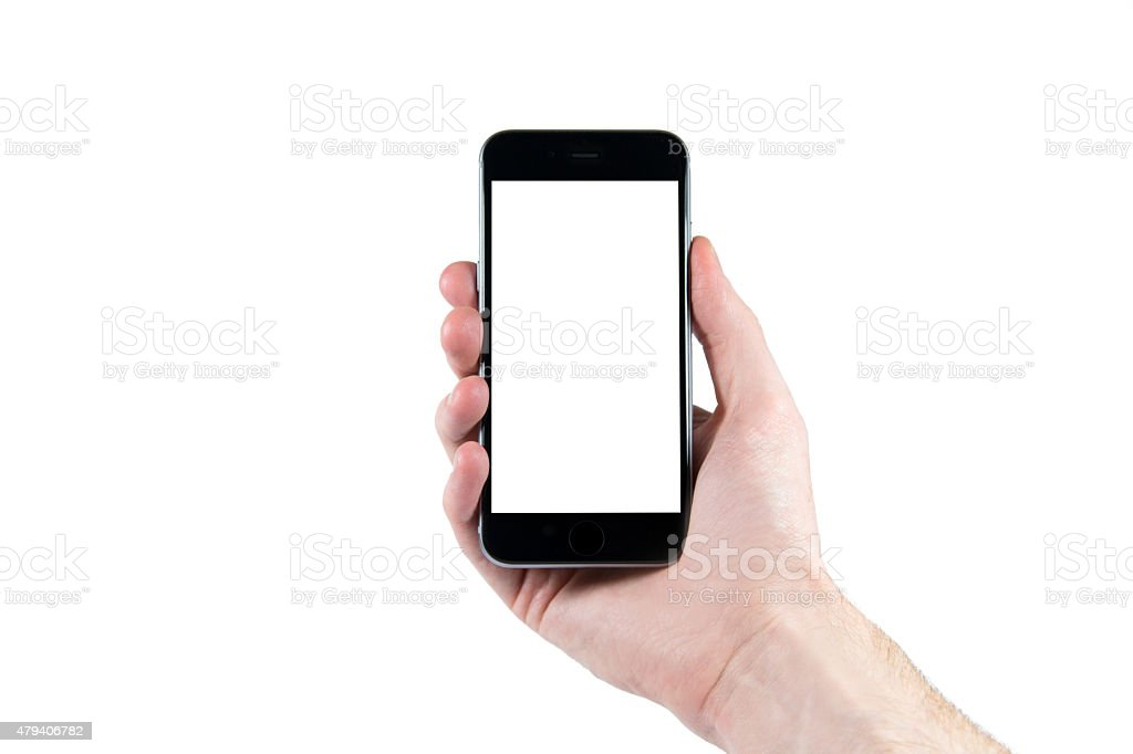 Hand holding a smartphone isolated stock photo