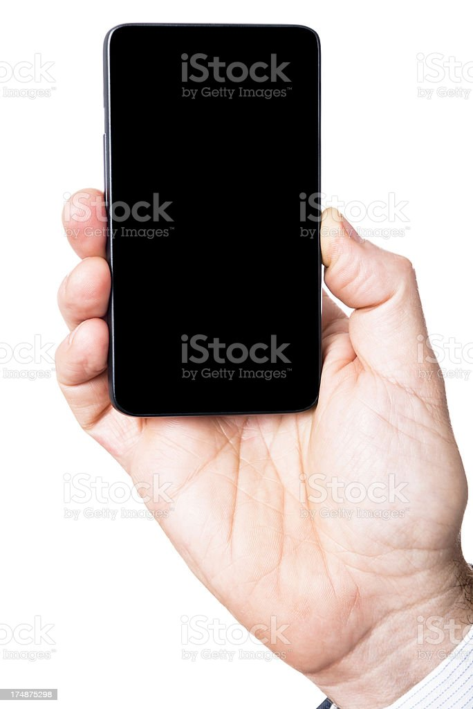 hand holding a smartphone on white background royalty-free stock photo