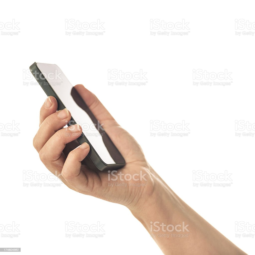 hand holding a smartphone royalty-free stock photo