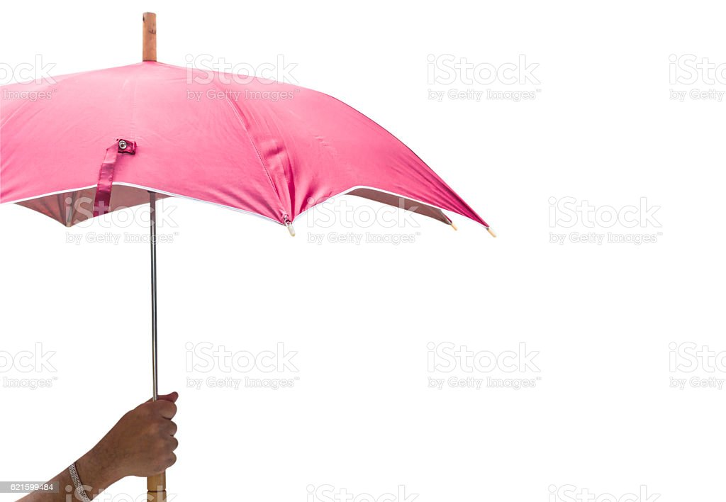 Hand holding a umbrella  isolated on white background. This has stock photo