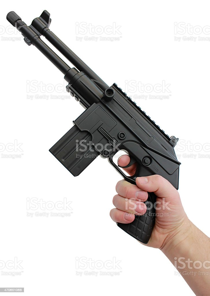Hand Holding a Unique Black Heavy Pistol stock photo