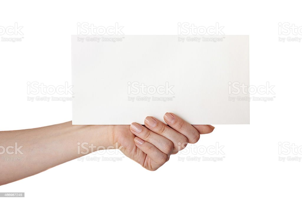 hand holding a white card royalty-free stock photo