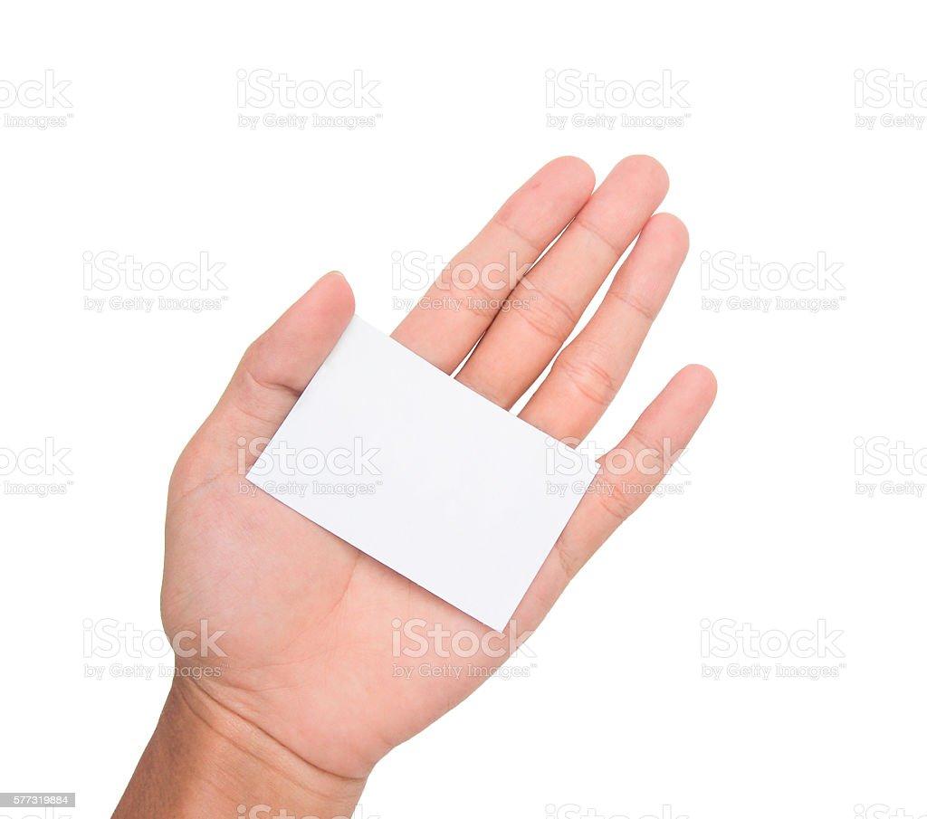 ็Hand holding a white paper card/note in a palm stock photo