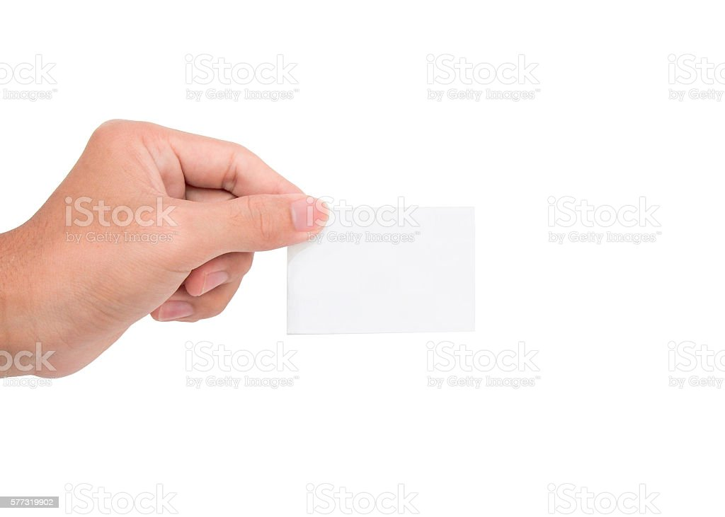 ็Hand holding a white paper card/note stock photo