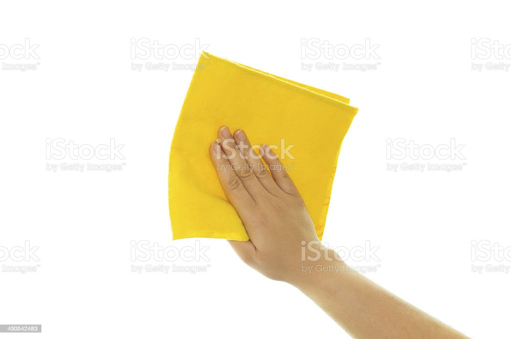 hand holding a yellow cleaning royalty-free stock photo