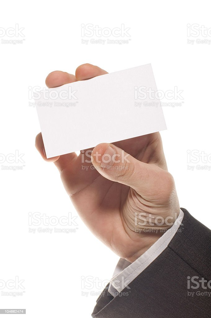 Hand holding an empty visiting card stock photo