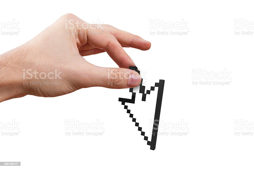 Hand Holding Arrow Cursor stock photo