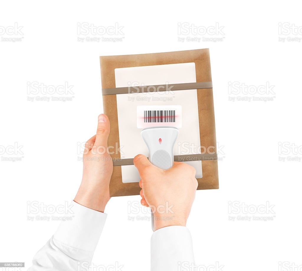 Hand holding bar code scanner and package bag isolated. stock photo