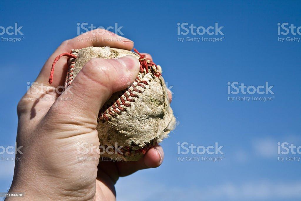 Hand Holding Baseball royalty-free stock photo