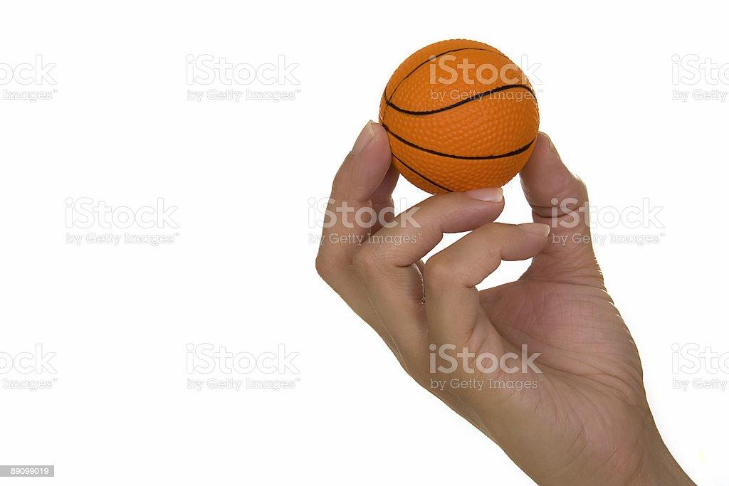 Hand holding basketball royalty-free stock photo