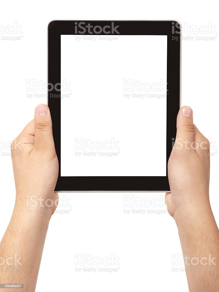 hand holding black frame tablet pc with white screen isolated stock photo