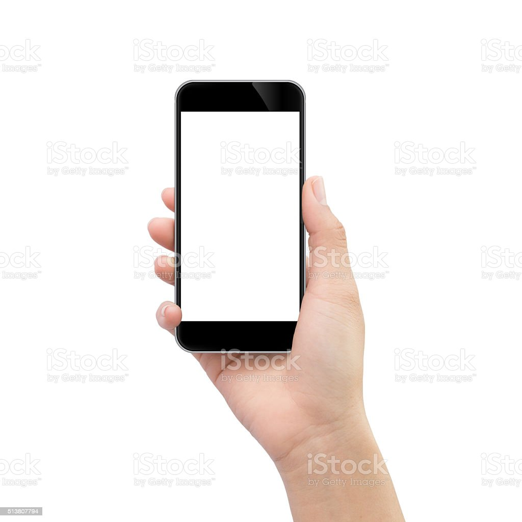hand holding black phone isolated on white clipping path inside stock photo