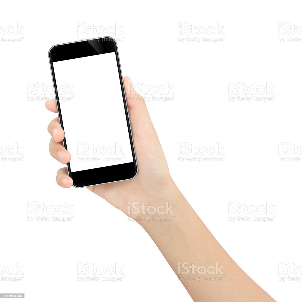 hand holding black phone isolated white clipping path inside stock photo