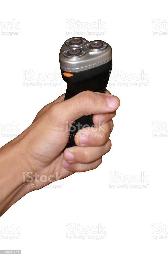 Hand holding black razor stock photo