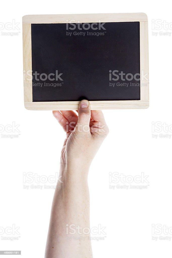 Hand holding blank blackboard royalty-free stock photo