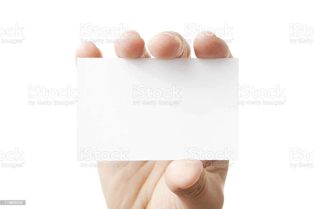 Hand holding blank business card royalty-free stock photo