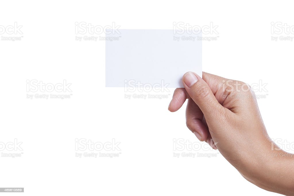 hand holding blank business card stock photo