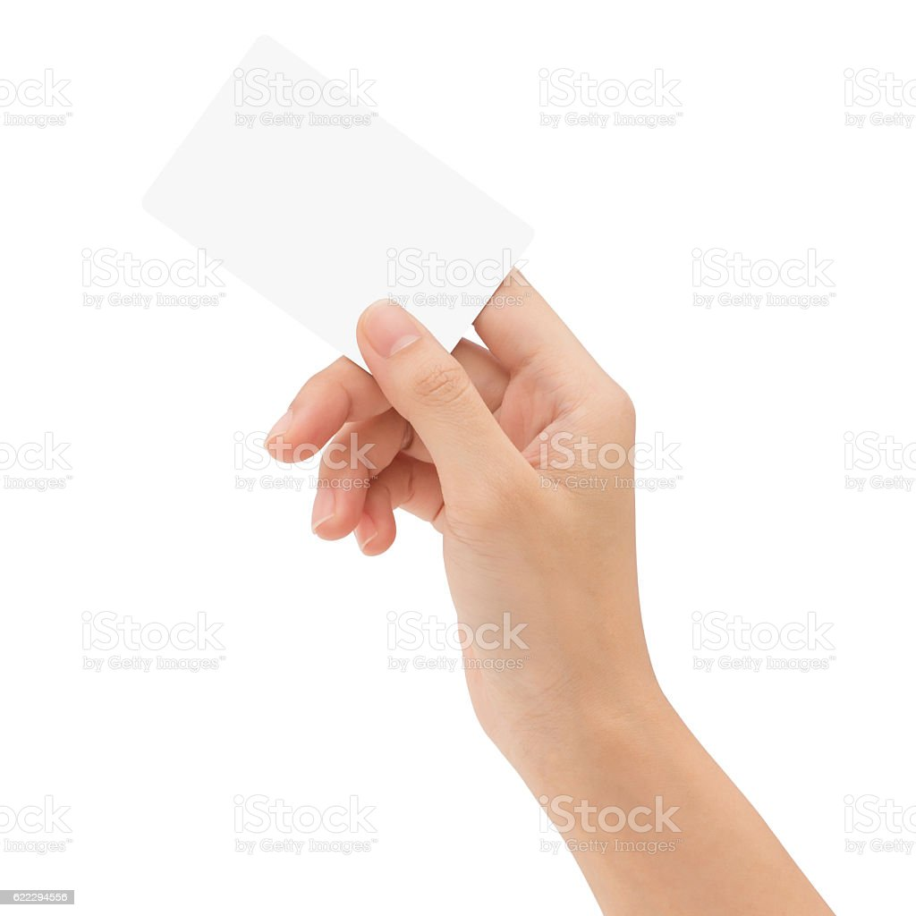 hand holding blank card isolated with clipping path stock photo