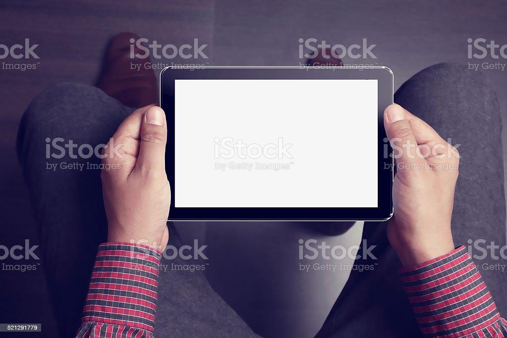 Hand Holding Blank Digital Tablet stock photo
