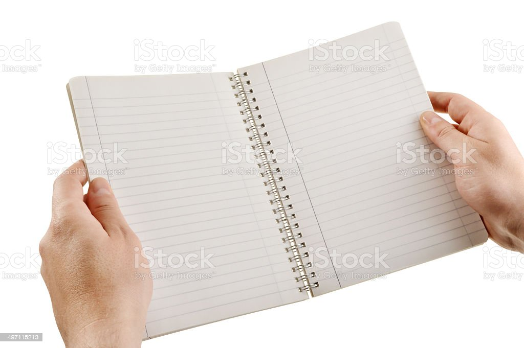 Hand Holding Blank Notebook royalty-free stock photo