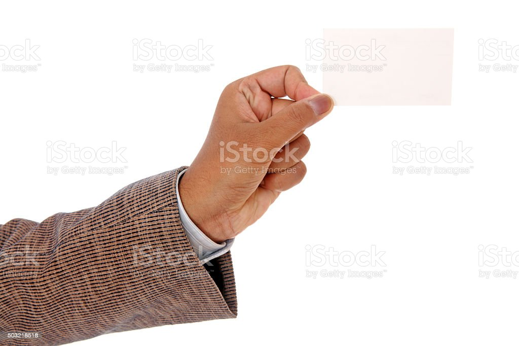 hand holding blank paper business card stock photo