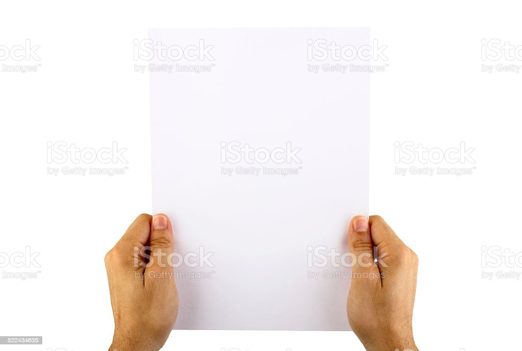 Hand holding blank paper stock photo