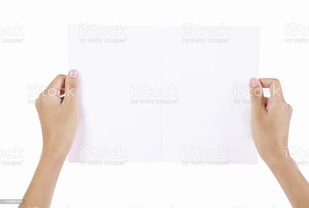 Hand Holding Blank Paper-XXXL royalty-free stock photo