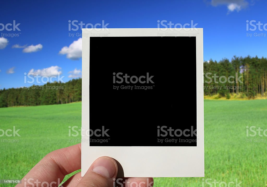 hand holding blank photo royalty-free stock photo