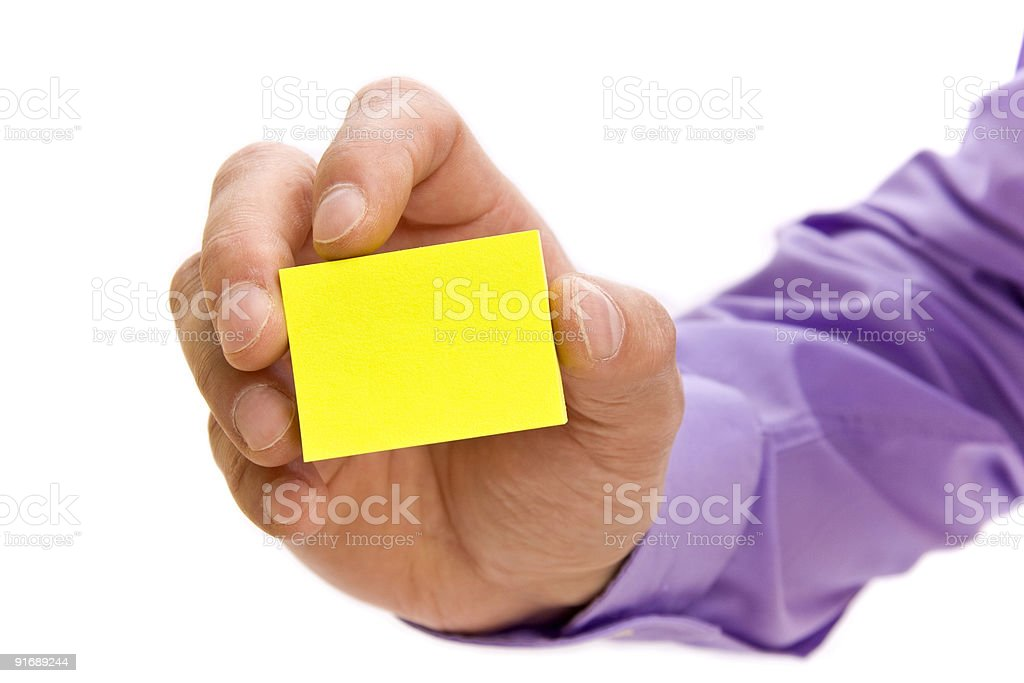Hand holding blank post-it note royalty-free stock photo