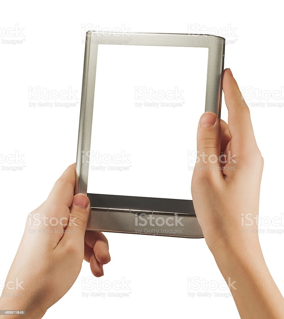 Hand Holding blank screen Digital Tablet royalty-free stock photo