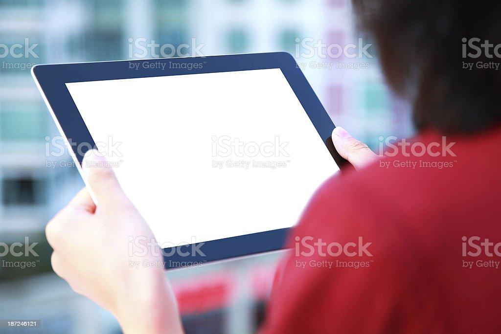 Hand Holding blank screen Digital Tablet-XXXL stock photo