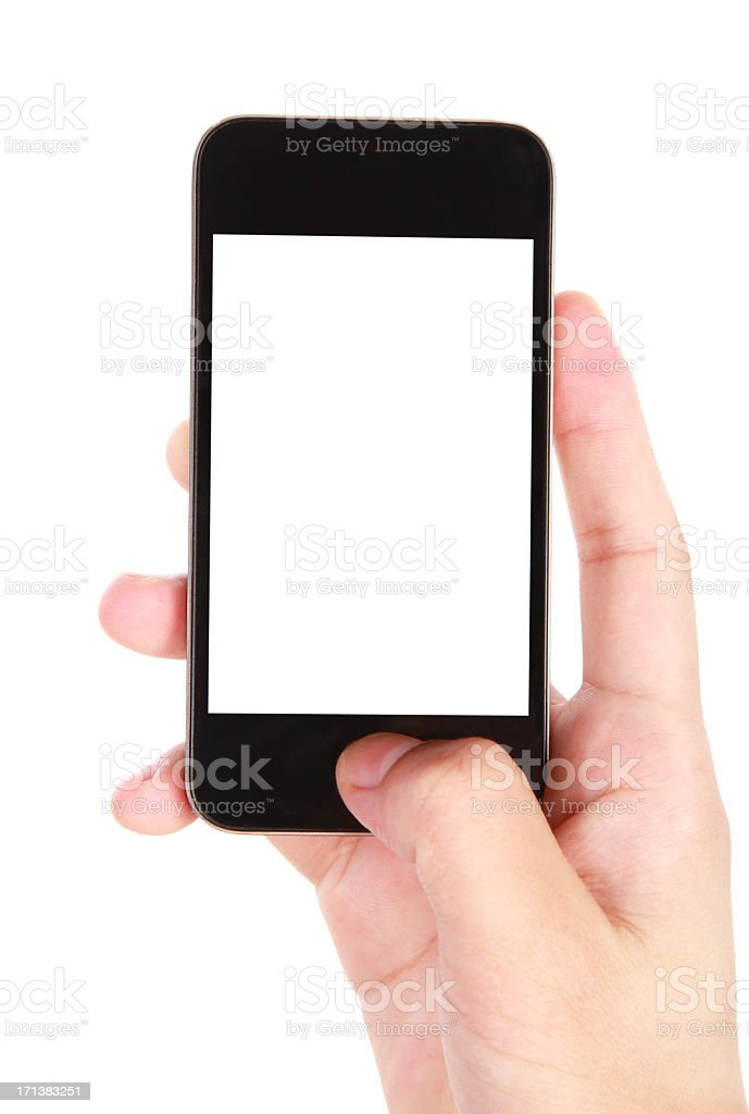 Hand holding blank screen smart phone on white background royalty-free stock photo