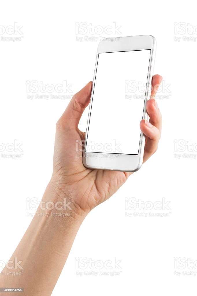 Hand Holding Blank Screen Smart Phone on White Background stock photo