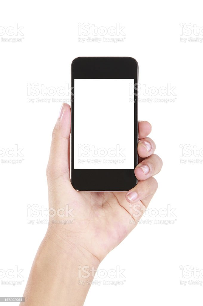 Hand holding blank smartphone on white background stock photo