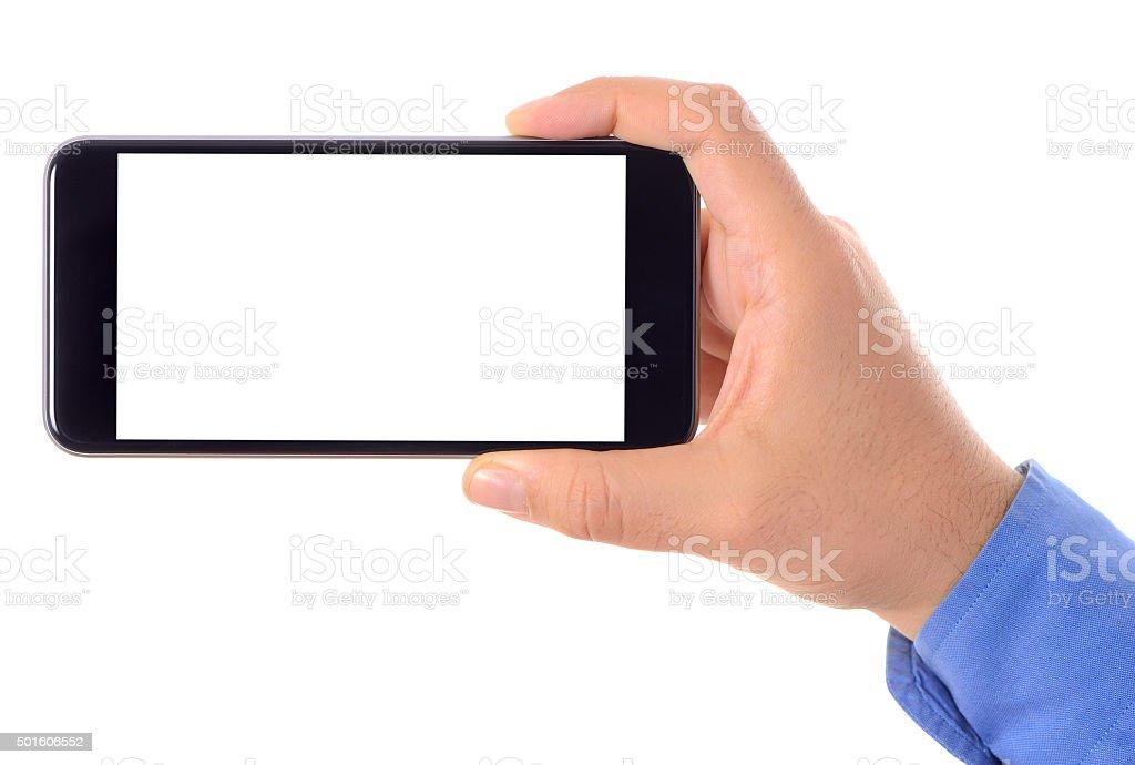 Hand holding blank white screen smart phone stock photo