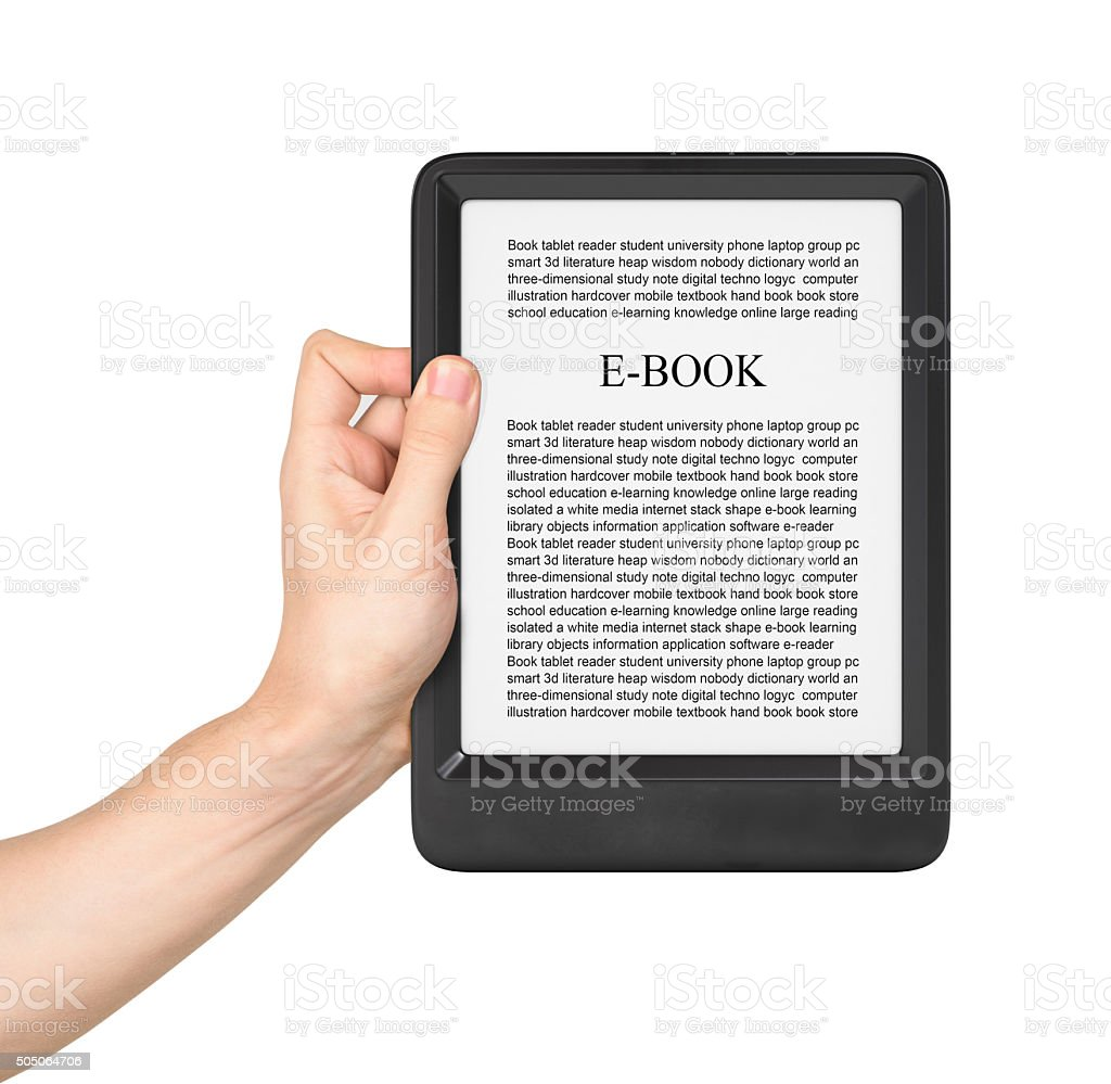 Hand holding Board on e-book reader stock photo