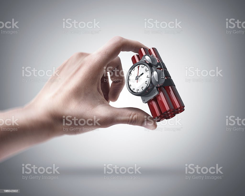 hand holding Bomb with clock timer royalty-free stock photo