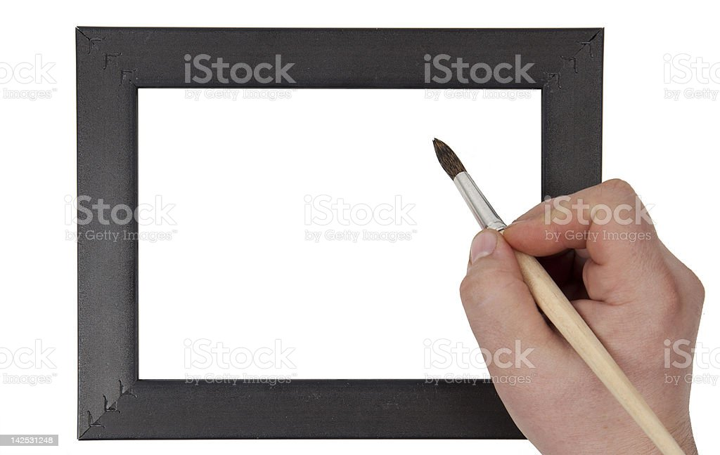 hand holding  brush on  background of the scope royalty-free stock photo