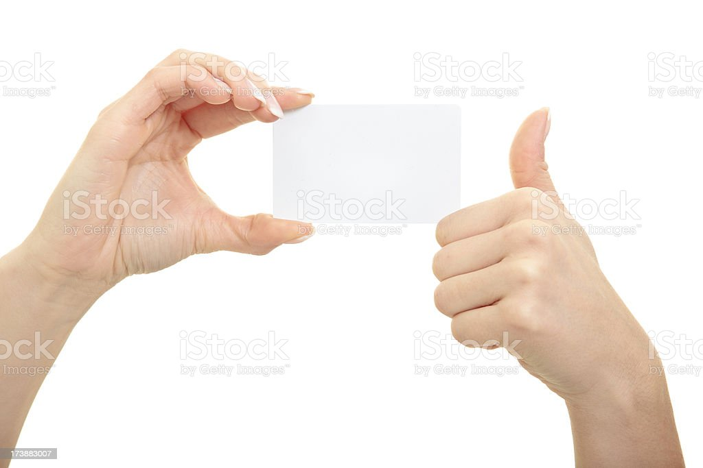 Hand holding business card royalty-free stock photo