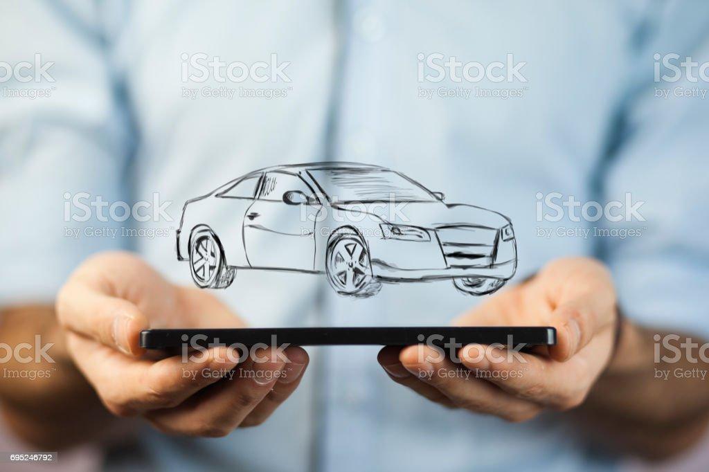 Hand holding car stock photo