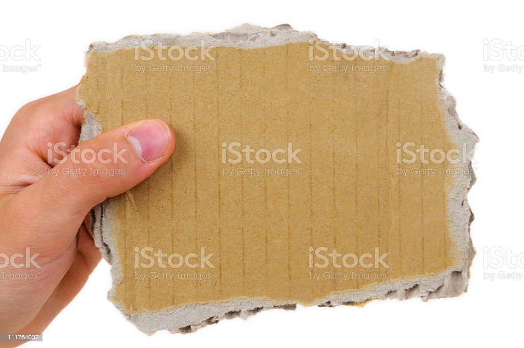 Hand Holding Cardboard Scrap royalty-free stock photo