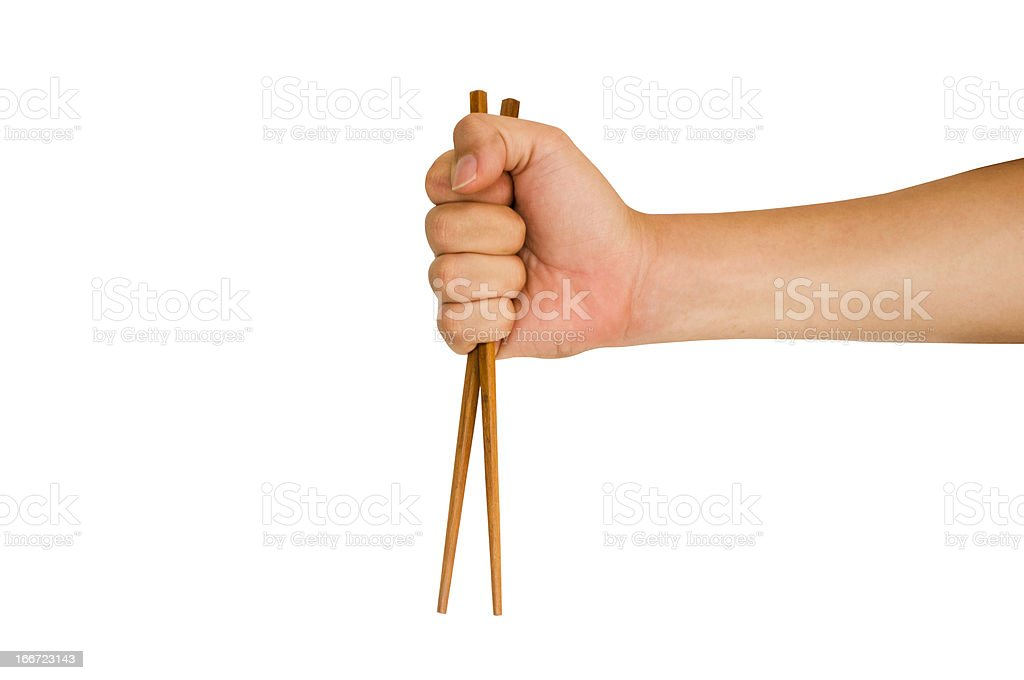 hand holding chopstick royalty-free stock photo