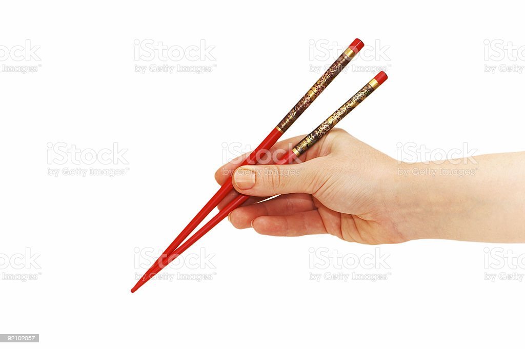 Hand holding chopsticks isolated on the white royalty-free stock photo
