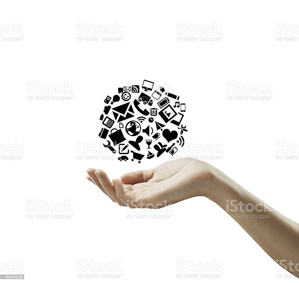 hand holding cloud icons royalty-free stock photo