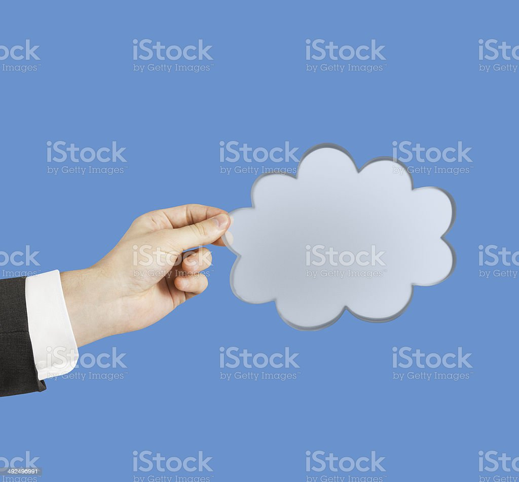 hand holding cloud royalty-free stock photo