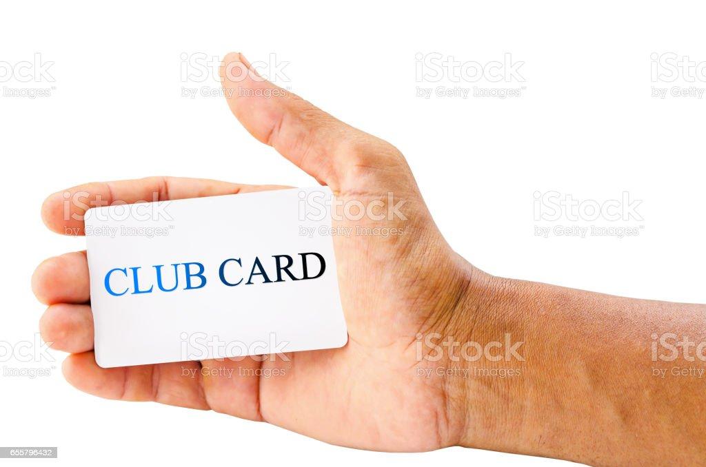 hand holding club card stock photo