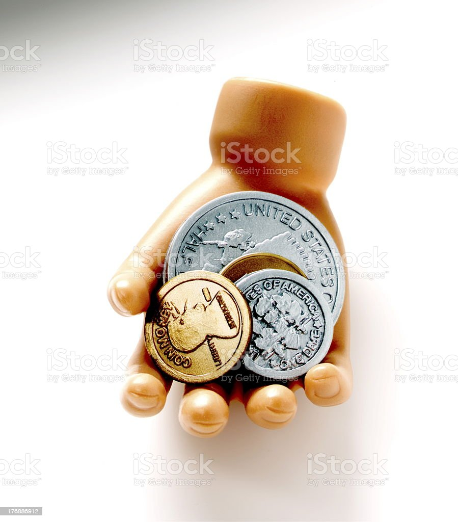 Hand Holding Coins royalty-free stock photo