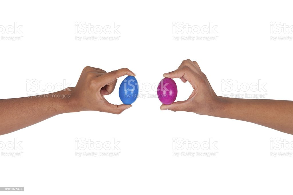 Hand holding colorful Easter eggs royalty-free stock photo