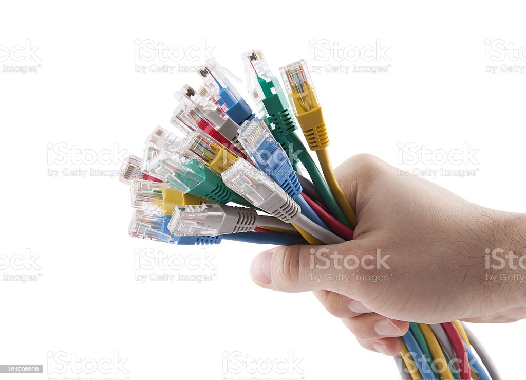 Hand holding colorful internet cables royalty-free stock photo