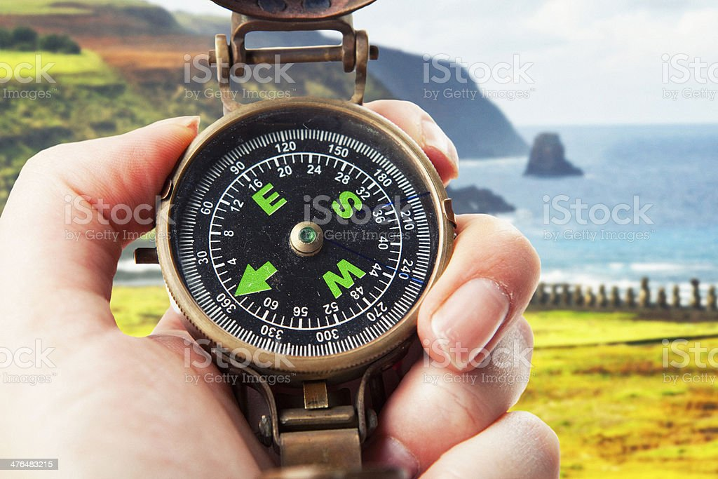 Hand Holding Compass at Easter Island stock photo